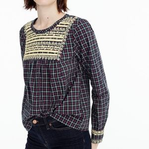 NWT J. Crew Embroidered Peasant Top in Plaid